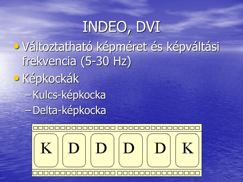 INDEO, DVI • Változtatható képméret és képváltási frekvencia (5-30 Hz) • Képkockák –Kulcs-képkocka –Delta-képkocka