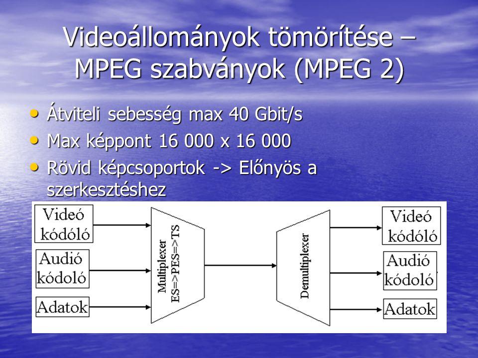 Videoállományok tömörítése – MPEG szabványok (MPEG 2) • Átviteli sebesség max 40 Gbit/s • Max képpont 16 000 x 16 000 • Rövid képcsoportok -> Előnyös a szerkesztéshez
