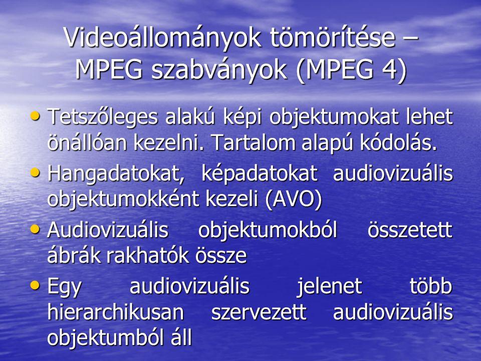 Videoállományok tömörítése – MPEG szabványok (MPEG 4) • Tetszőleges alakú képi objektumokat lehet önállóan kezelni.