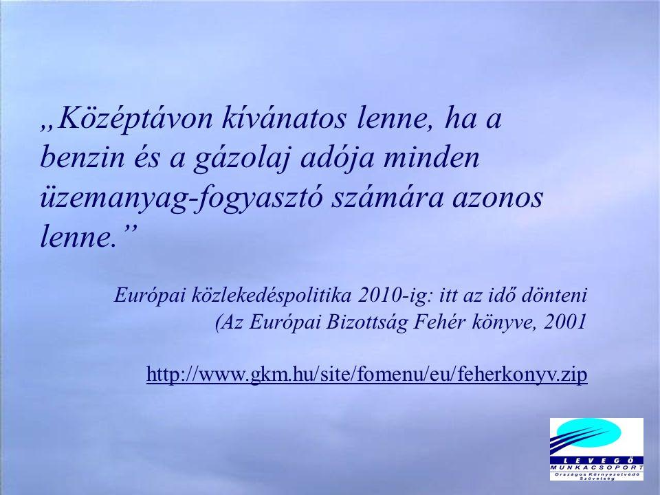 """""""Középtávon kívánatos lenne, ha a benzin és a gázolaj adója minden üzemanyag-fogyasztó számára azonos lenne. Európai közlekedéspolitika 2010-ig: itt az idő dönteni (Az Európai Bizottság Fehér könyve, 2001 http://www.gkm.hu/site/fomenu/eu/feherkonyv.zip"""