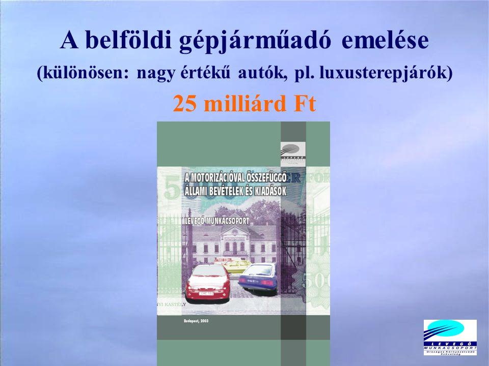 A belföldi gépjárműadó emelése (különösen: nagy értékű autók, pl. luxusterepjárók) 25 milliárd Ft