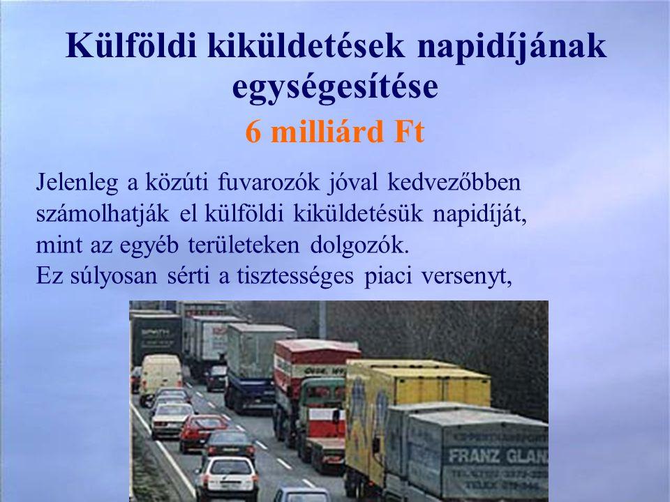 Külföldi kiküldetések napidíjának egységesítése 6 milliárd Ft Jelenleg a közúti fuvarozók jóval kedvezőbben számolhatják el külföldi kiküldetésük napidíját, mint az egyéb területeken dolgozók.