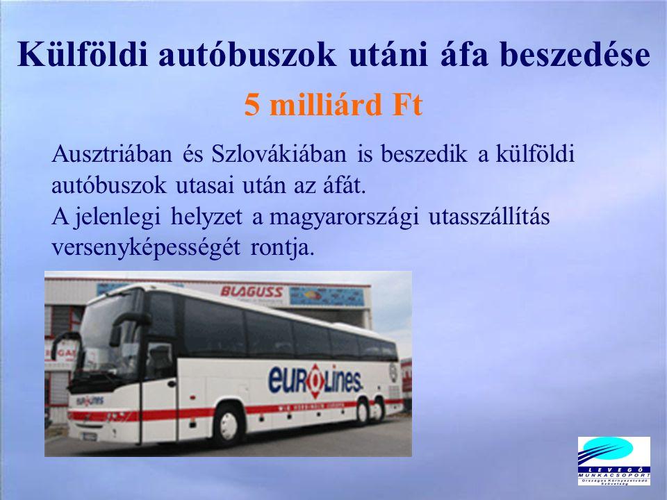 Külföldi autóbuszok utáni áfa beszedése 5 milliárd Ft Ausztriában és Szlovákiában is beszedik a külföldi autóbuszok utasai után az áfát.