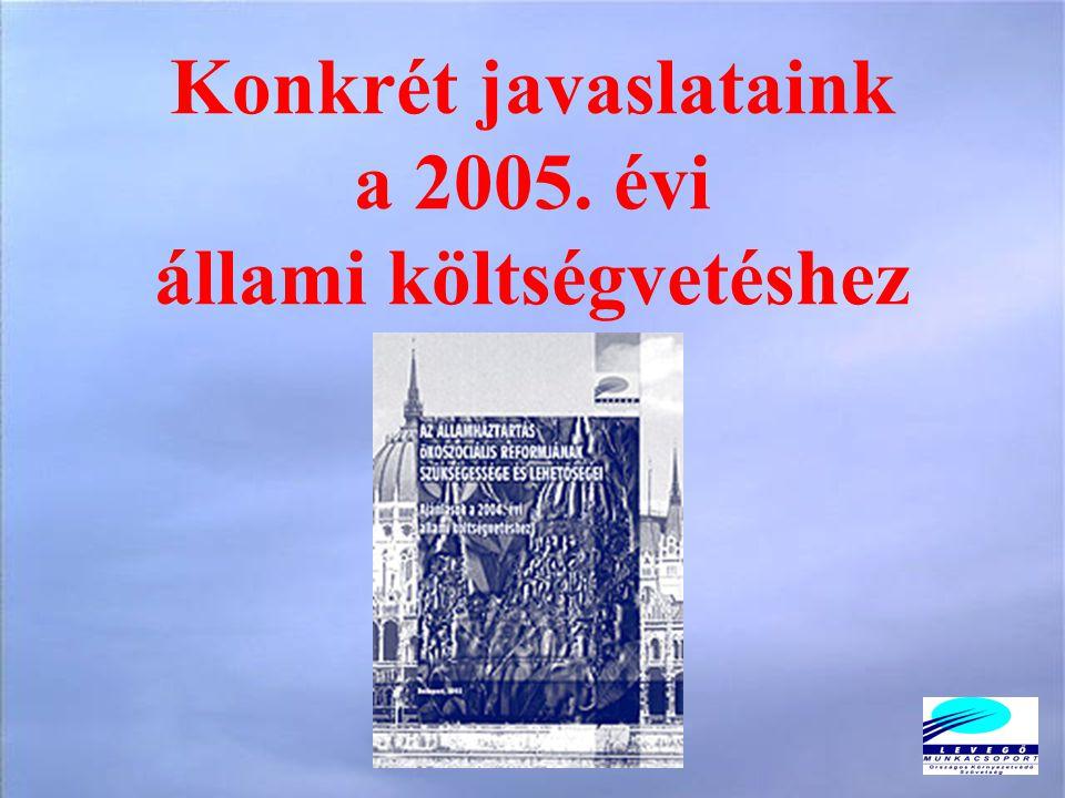 Konkrét javaslataink a 2005. évi állami költségvetéshez