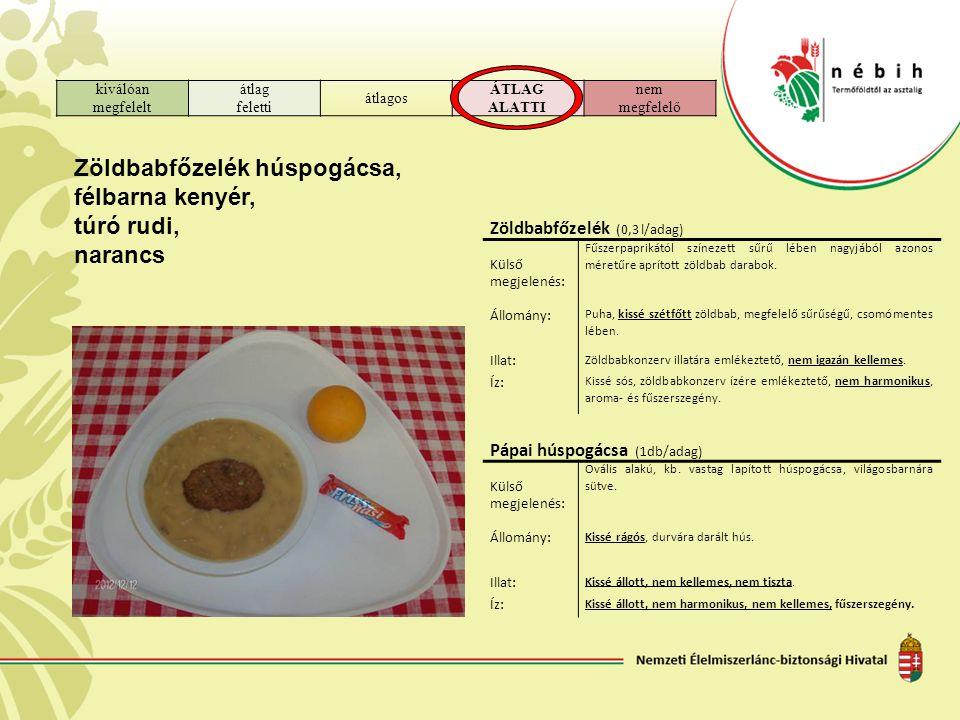 kiválóan megfelelt átlag feletti átlagos ÁTLAG ALATTI nem megfelelő Zöldbabfőzelék húspogácsa, félbarna kenyér, túró rudi, narancs Zöldbabfőzelék (0,3 l/adag) Külső megjelenés: Fűszerpaprikától színezett sűrű lében nagyjából azonos méretűre aprított zöldbab darabok.