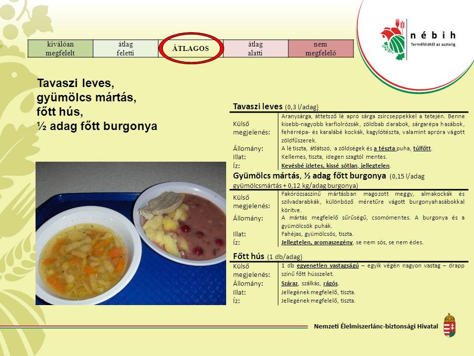 kiválóan megfelelt átlag feletti ÁTLAGOS átlag alatti nem megfelelő Tavaszi leves, gyümölcs mártás, főtt hús, ½ adag főtt burgonya Tavaszi leves (0,3 l/adag) Külső megjelenés: Aranysárga, áttetsző lé apró sárga zsírcseppekkel a tetején.