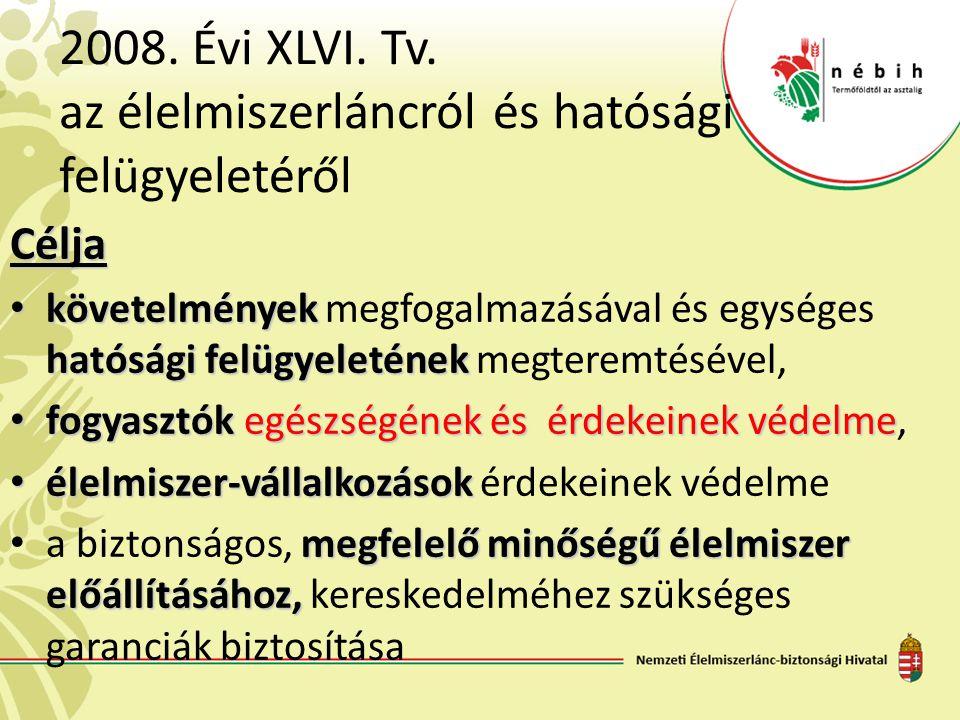 2008. Évi XLVI. Tv. az élelmiszerláncról és hatósági felügyeletéről Célja • követelmények hatósági felügyeletének • követelmények megfogalmazásával és