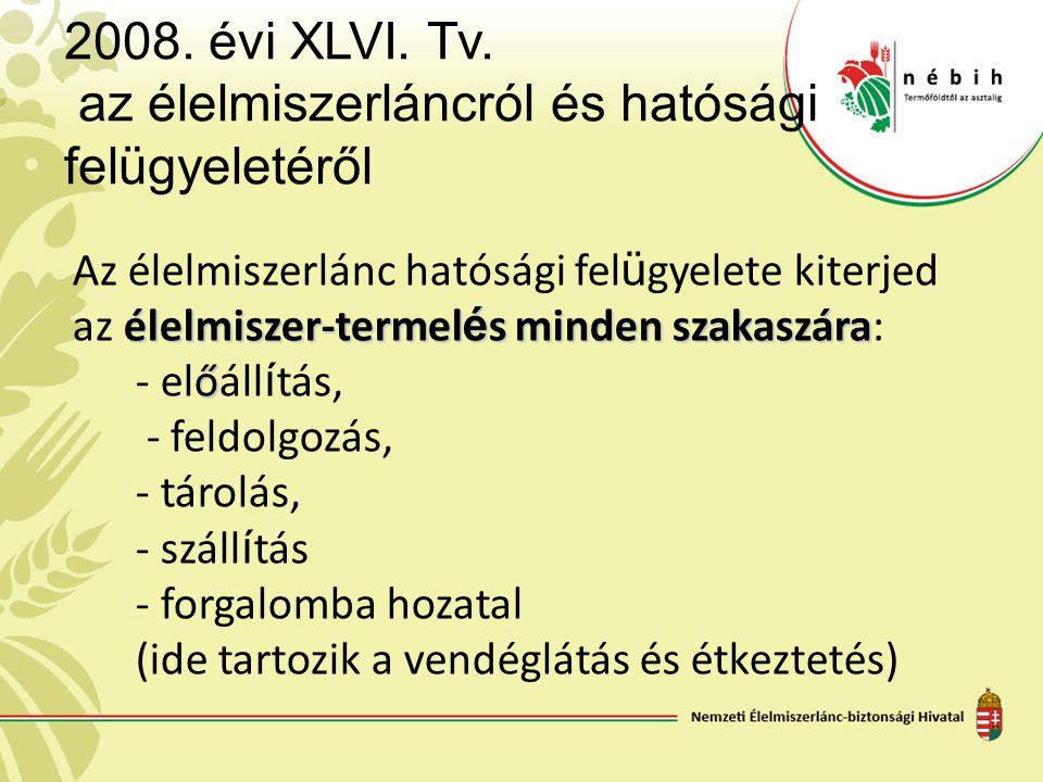 2008. évi XLVI. Tv. az élelmiszerláncról és hatósági felügyeletéről Az élelmiszerlánc hatósági fel ü gyelete kiterjed élelmiszer-termel é s minden sza