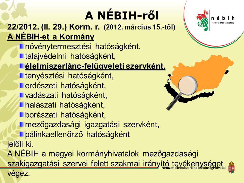 A NÉBIH-ről 22/2012. (II. 29.) Korm. r. (2012. március 15.-től) A NÉBIH-et a Kormány növénytermesztési hatóságként, talajvédelmi hatóságként, élelmisz