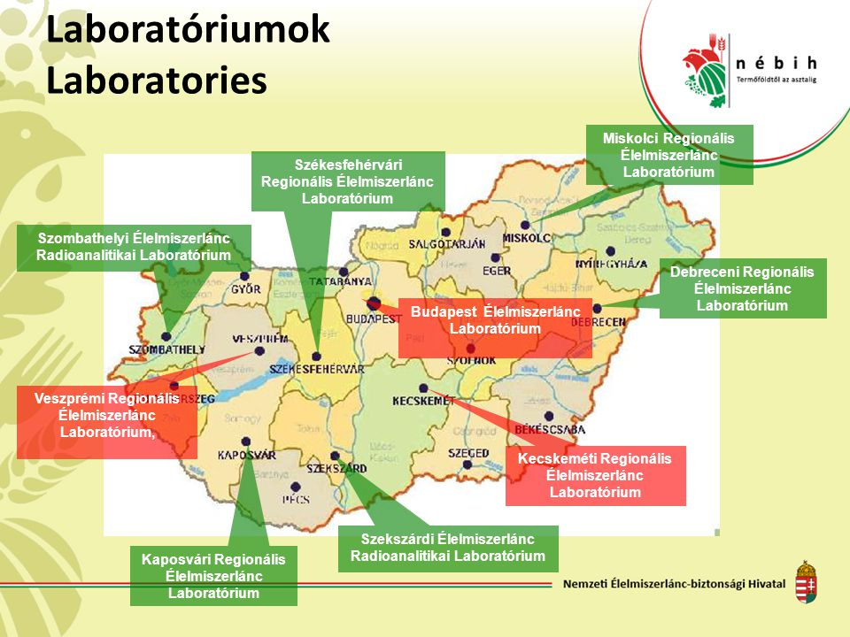 Laboratóriumok Laboratories Debreceni Regionális Élelmiszerlánc Laboratórium Kaposvári Regionális Élelmiszerlánc Laboratórium Kecskeméti Regionális Él