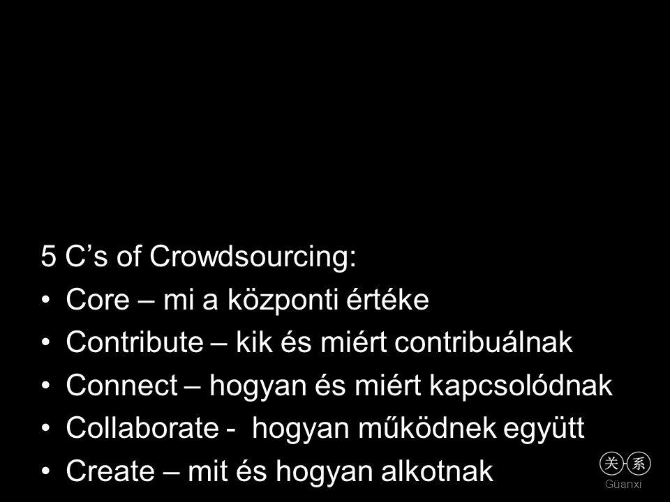 5 C's of Crowdsourcing: •Core – mi a központi értéke •Contribute – kik és miért contribuálnak •Connect – hogyan és miért kapcsolódnak •Collaborate - hogyan működnek együtt •Create – mit és hogyan alkotnak