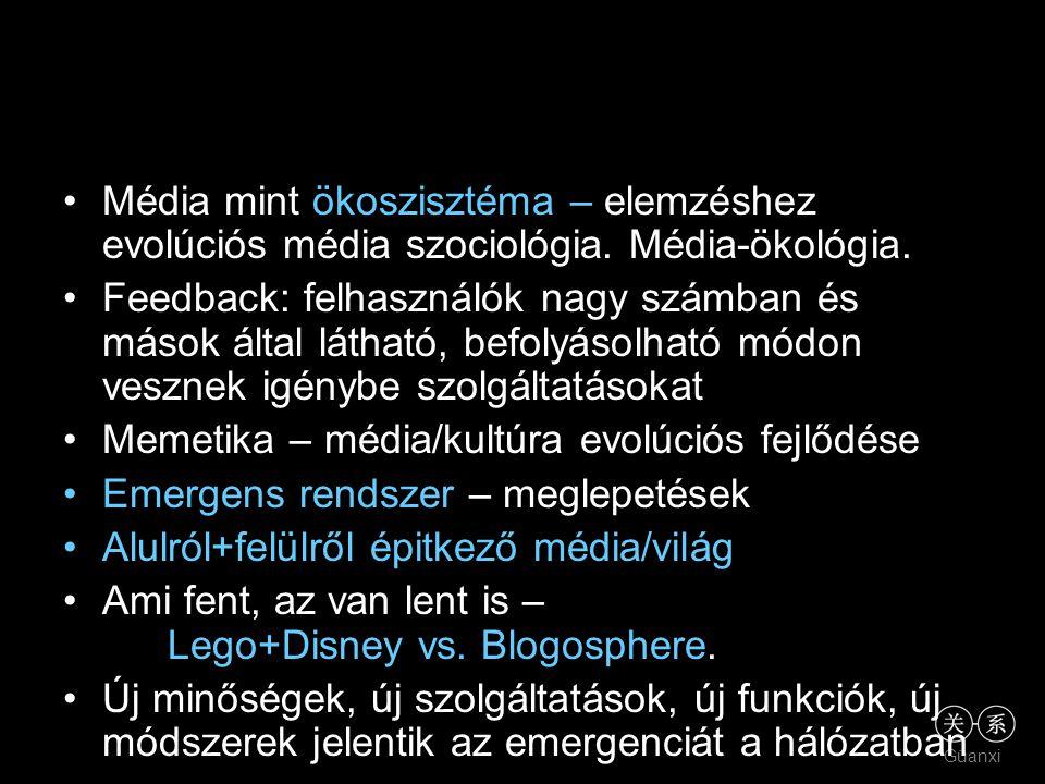 •Média mint ökoszisztéma – elemzéshez evolúciós média szociológia. Média-ökológia. •Feedback: felhasználók nagy számban és mások által látható, befoly