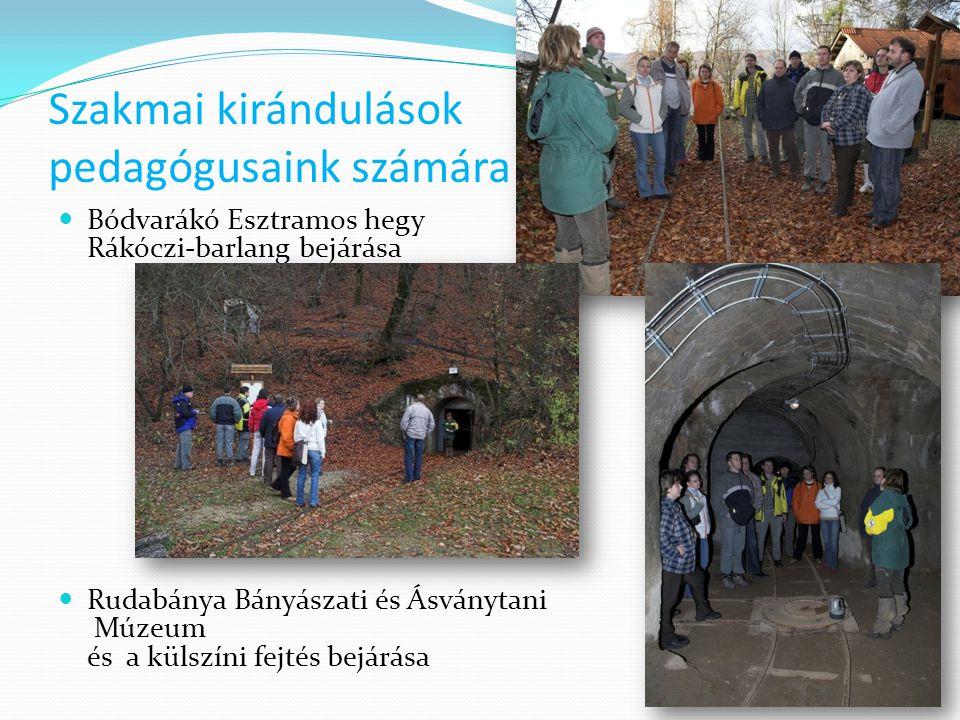 Szakmai kirándulások pedagógusaink számára  Bódvarákó Esztramos hegy Rákóczi-barlang bejárása  Rudabánya Bányászati és Ásványtani Múzeum és a külszí