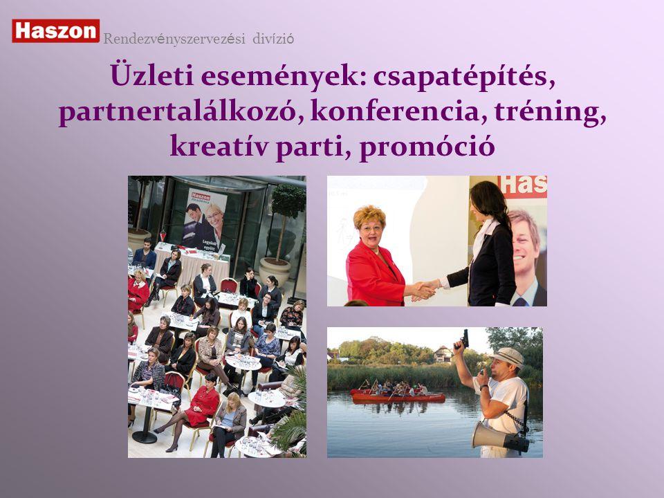 Üzleti események: csapatépítés, partnertalálkozó, konferencia, tréning, kreatív parti, promóció Rendezv é nyszervez é si div í zi ó