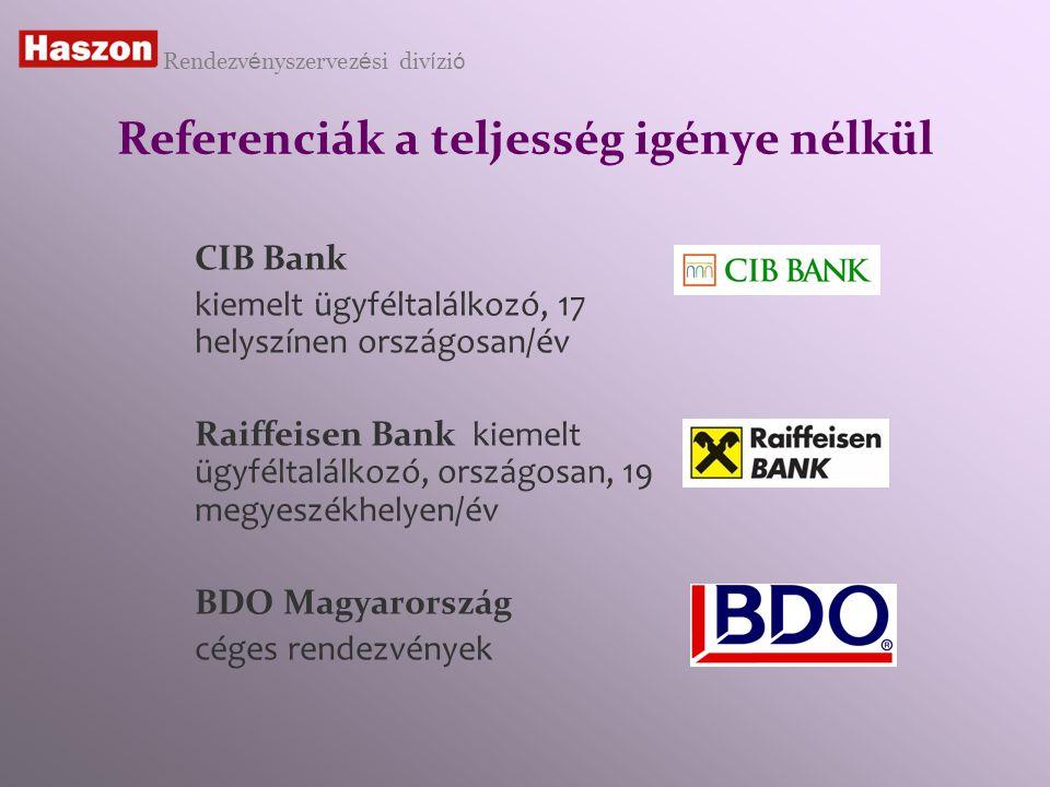 Referenciák a teljesség igénye nélkül CIB Bank kiemelt ügyféltalálkozó, 17 helyszínen országosan/év Raiffeisen Bank kiemelt ügyféltalálkozó, országosan, 19 megyeszékhelyen/év BDO Magyarország céges rendezvények Rendezv é nyszervez é si div í zi ó