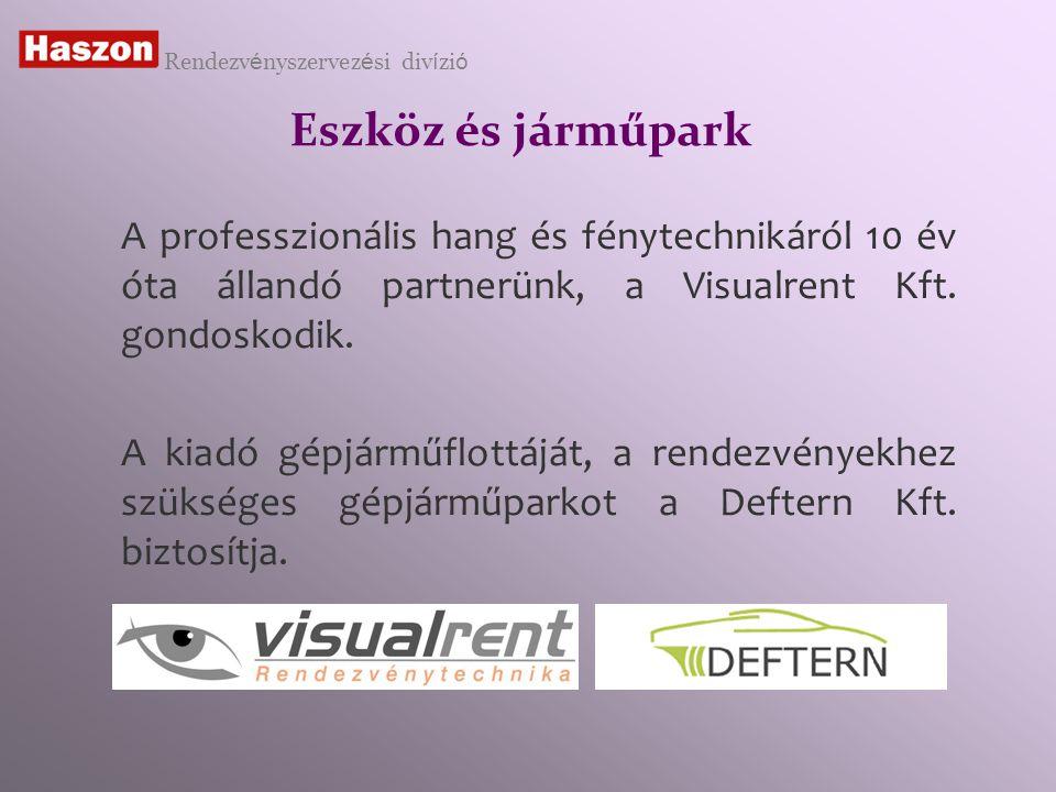 Eszköz és járműpark A professzionális hang és fénytechnikáról 10 év óta állandó partnerünk, a Visualrent Kft.