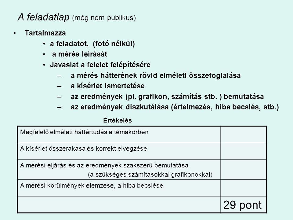 •Új mérési feladatok: –A víz törésmutatójának meghatározása –Félvezető (termisztor) ellenállásának hőmérsékletfüggése; termisztoros hőmérő készítése –Lendületmegmaradás törvényének egyszerű kísérleti igazolása;dinamikus tömegmérés –Napelemcella vizsgálata –A termikus kölcsönhatás vizsgálata –Molekulák méretének nagyságrendi becslése Lényegi módosítások: –Jég olvadáshőjének meghatározása –Ekvipotenciális vonalak kimérése elektromos térben Kisebb változtatások: – A domború lencse főkusztávolságának meghatározása Bessel-módszerrel – Rugóra függesztett test rezgésidejének vizsgálata – Áramforrás paramétereinek vizsgálata – …………………..