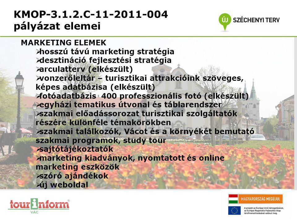KMOP-3.1.2.C-11-2011-004 pályázat elemei MARKETING ELEMEK  hosszú távú marketing stratégia  desztináció fejlesztési stratégia  arculatterv (elkészü