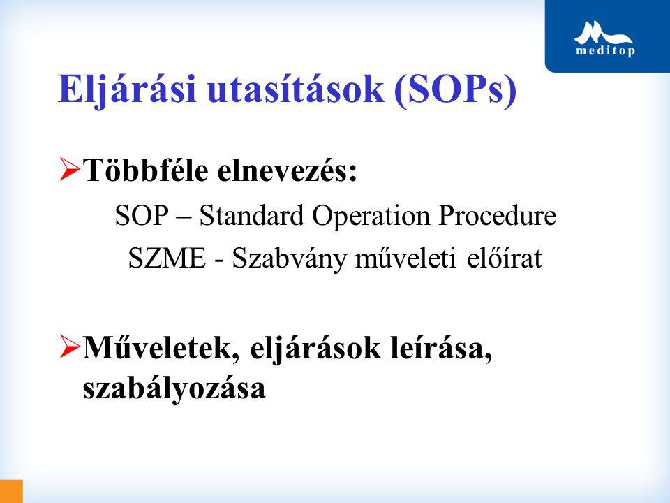 Eljárási utasítások (SOPs)  Többféle elnevezés: SOP – Standard Operation Procedure SZME - Szabvány műveleti előírat  Műveletek, eljárások leírása, s