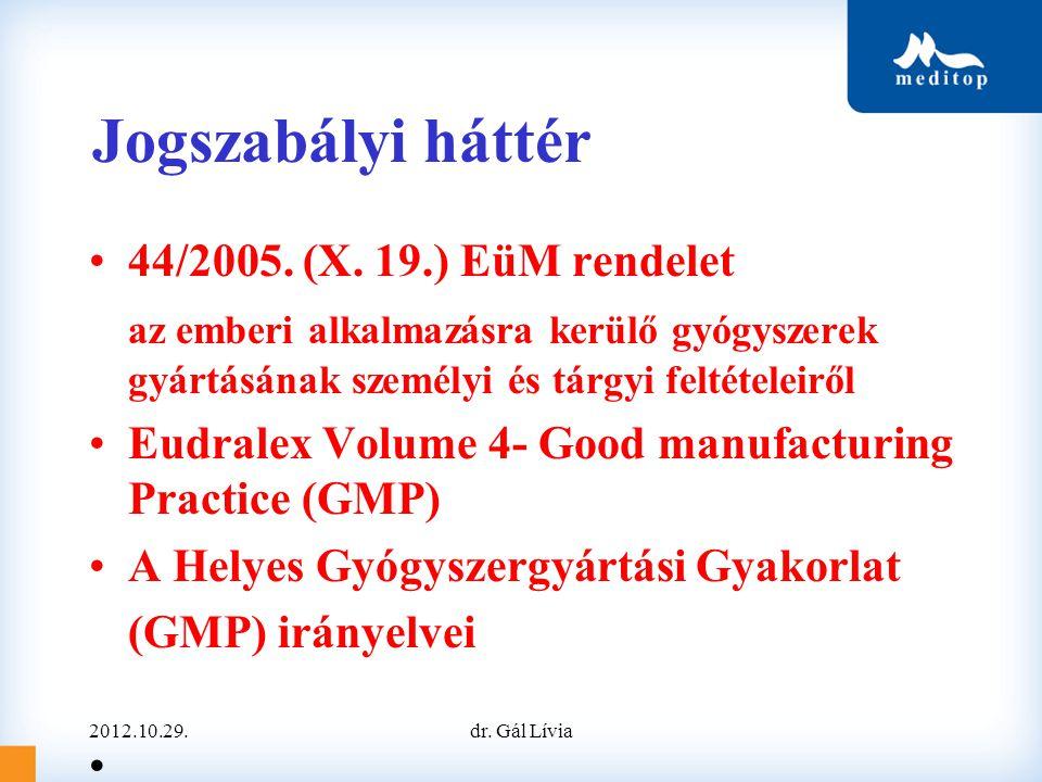 Jogszabályi háttér •44/2005. (X. 19.) EüM rendelet az emberi alkalmazásra kerülő gyógyszerek gyártásának személyi és tárgyi feltételeiről •Eudralex Vo