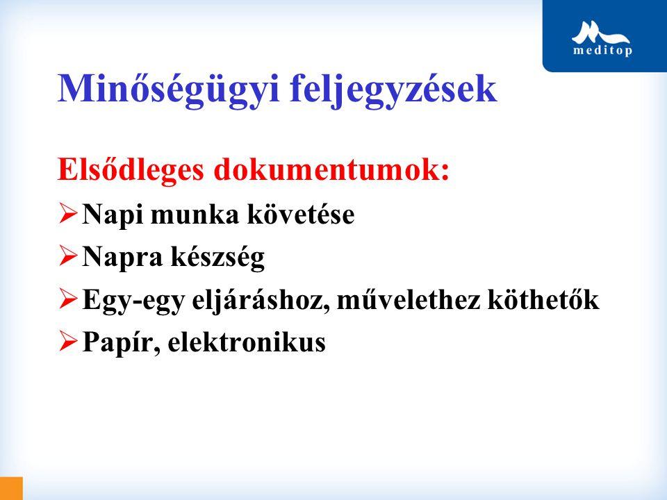 Minőségügyi feljegyzések Elsődleges dokumentumok:  Napi munka követése  Napra készség  Egy-egy eljáráshoz, művelethez köthetők  Papír, elektroniku