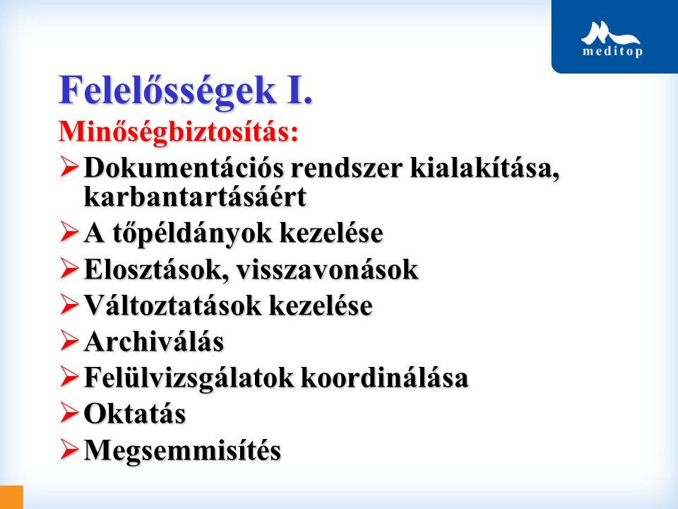 Felelősségek I. Minőségbiztosítás:  Dokumentációs rendszer kialakítása, karbantartásáért  A tőpéldányok kezelése  Elosztások, visszavonások  Válto