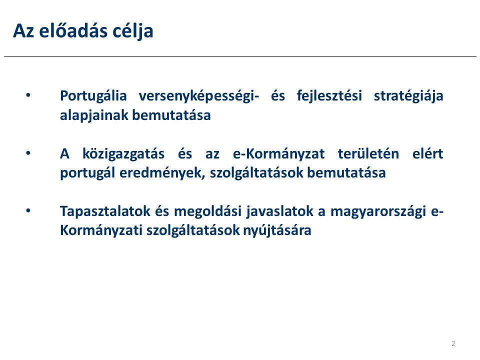 Az előadás célja • Portugália versenyképességi- és fejlesztési stratégiája alapjainak bemutatása • A közigazgatás és az e-Kormányzat területén elért portugál eredmények, szolgáltatások bemutatása • Tapasztalatok és megoldási javaslatok a magyarországi e- Kormányzati szolgáltatások nyújtására 2