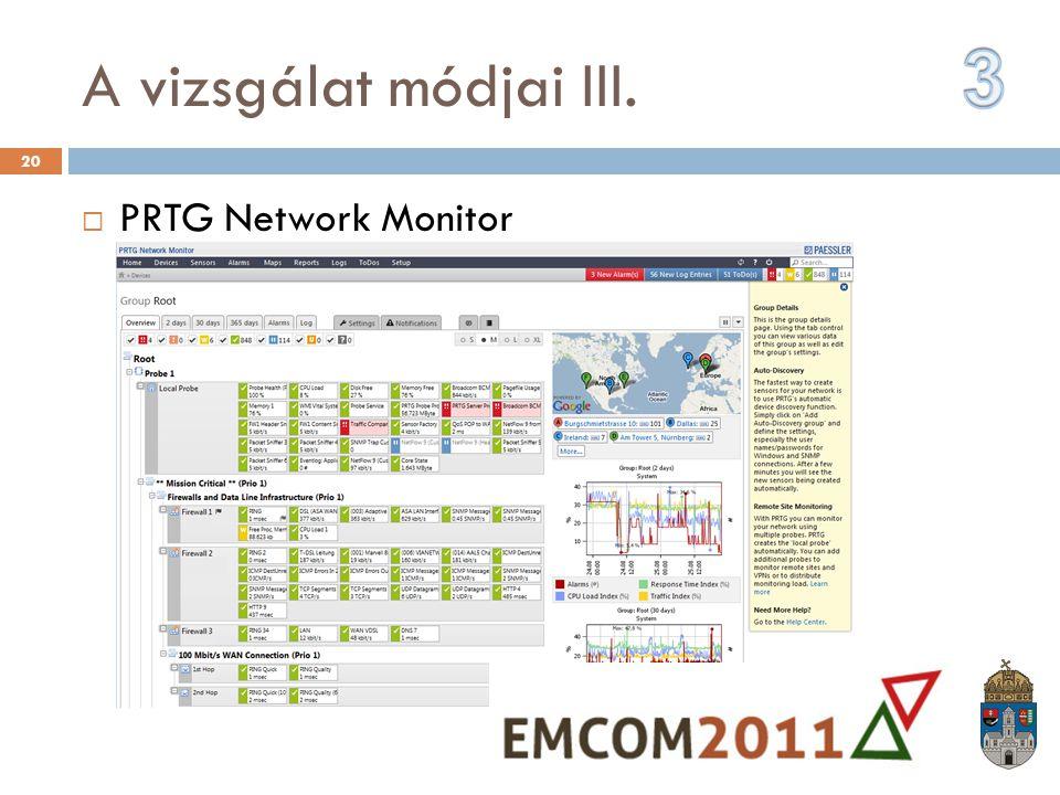 A vizsgálat módjai III.  PRTG Network Monitor 20