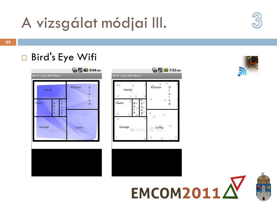 A vizsgálat módjai III.  Bird's Eye Wifi 23