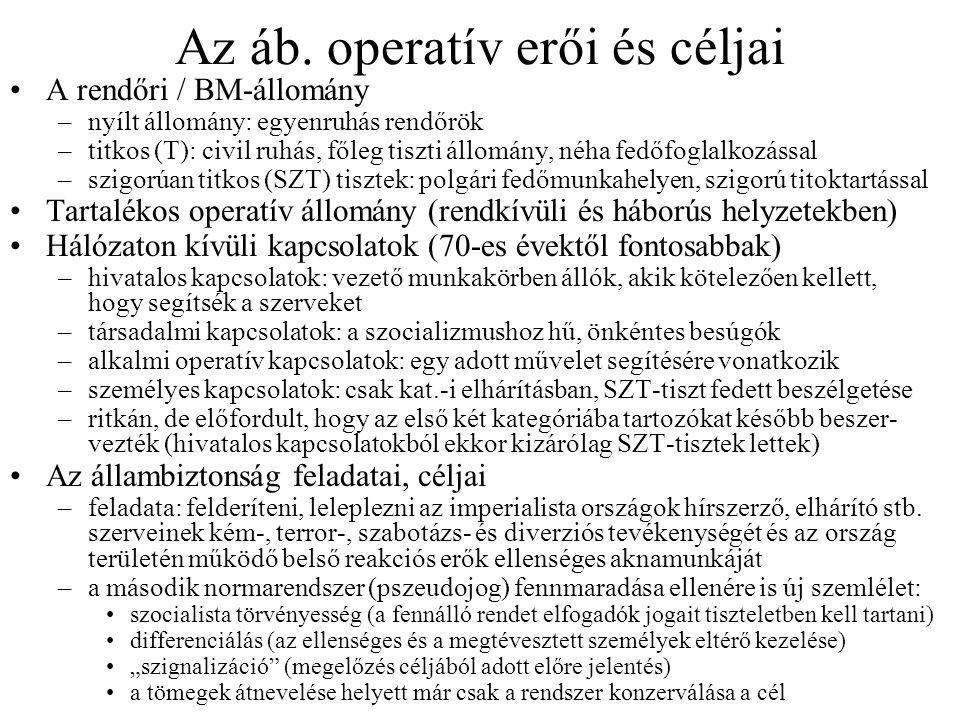 Az áb. operatív erői és céljai •A rendőri / BM-állomány –nyílt állomány: egyenruhás rendőrök –titkos (T): civil ruhás, főleg tiszti állomány, néha fed