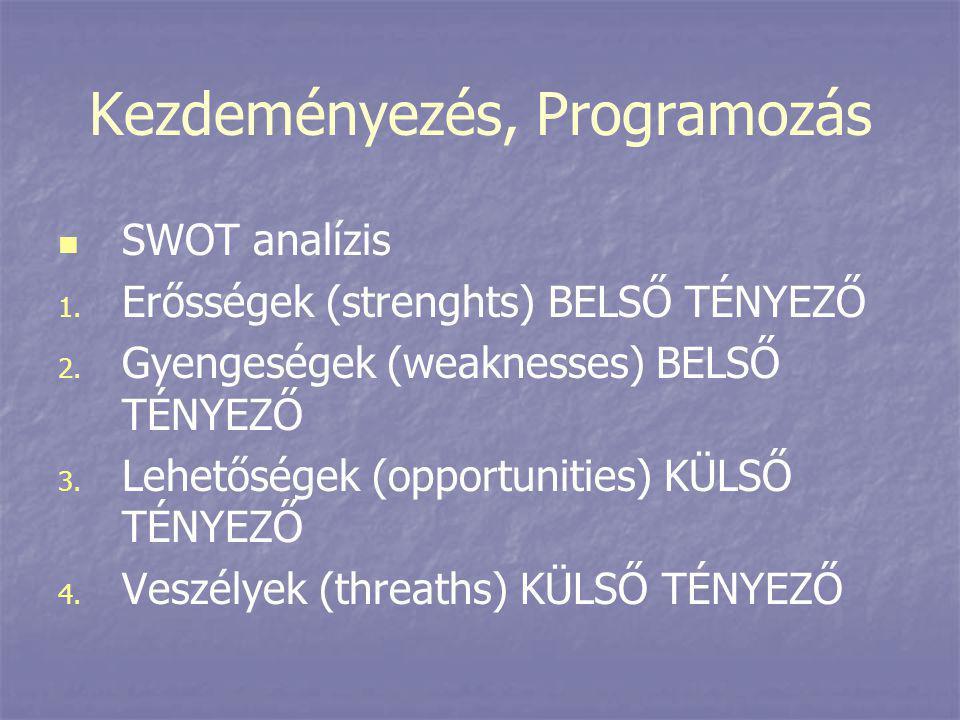 Kezdeményezés, Programozás   SWOT analízis 1. 1. Erősségek (strenghts) BELSŐ TÉNYEZŐ 2. 2. Gyengeségek (weaknesses) BELSŐ TÉNYEZŐ 3. 3. Lehetőségek