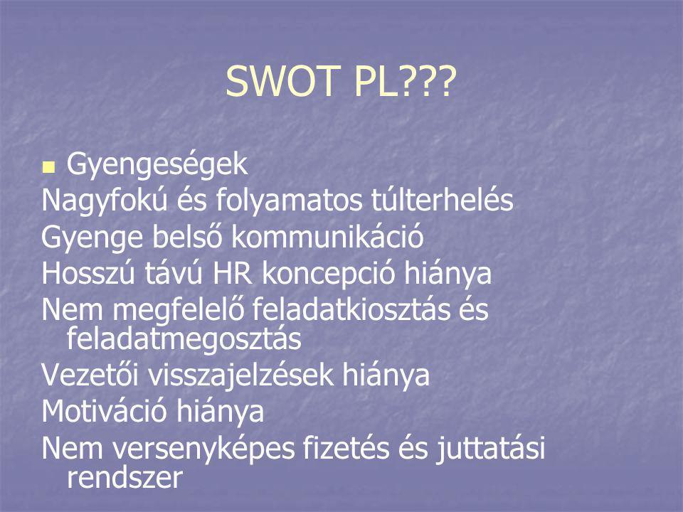 SWOT PL???   Gyengeségek Nagyfokú és folyamatos túlterhelés Gyenge belső kommunikáció Hosszú távú HR koncepció hiánya Nem megfelelő feladatkiosztás