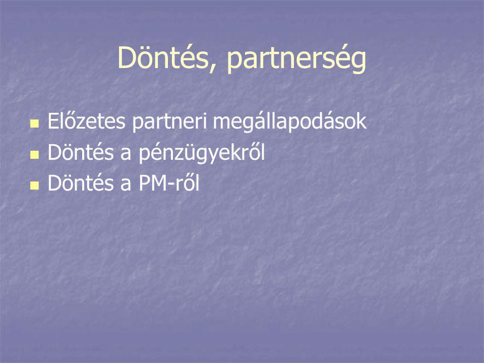 Döntés, partnerség   Előzetes partneri megállapodások   Döntés a pénzügyekről   Döntés a PM-ről