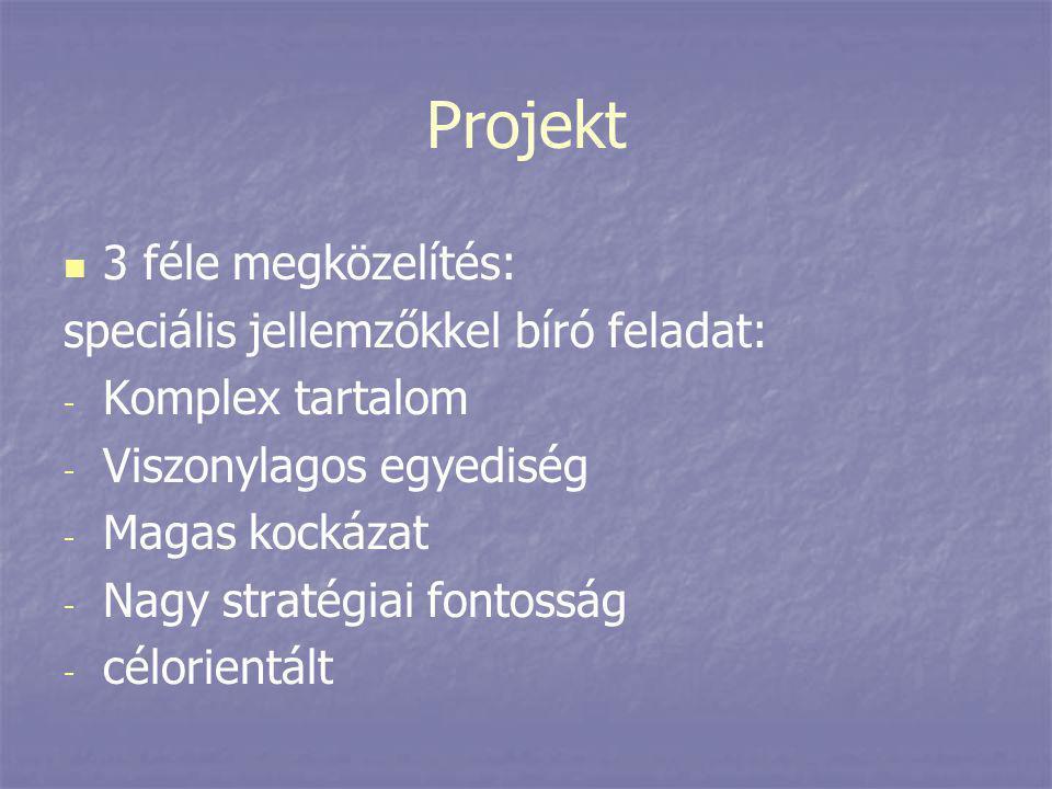 Projekt   3 féle megközelítés: speciális jellemzőkkel bíró feladat: - - Komplex tartalom - - Viszonylagos egyediség - - Magas kockázat - - Nagy stra