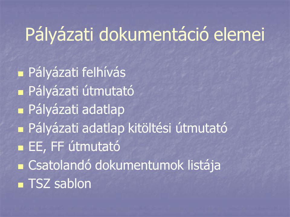 Pályázati dokumentáció elemei   Pályázati felhívás   Pályázati útmutató   Pályázati adatlap   Pályázati adatlap kitöltési útmutató   EE, FF