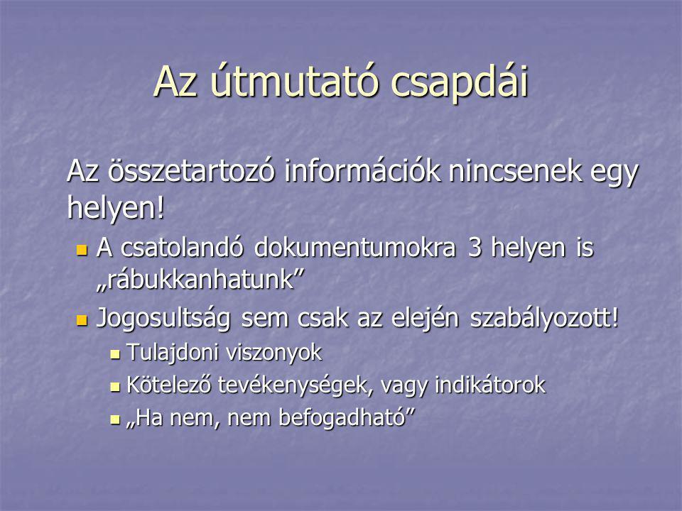 """Az útmutató csapdái Az összetartozó információk nincsenek egy helyen!  A csatolandó dokumentumokra 3 helyen is """"rábukkanhatunk""""  Jogosultság sem csa"""