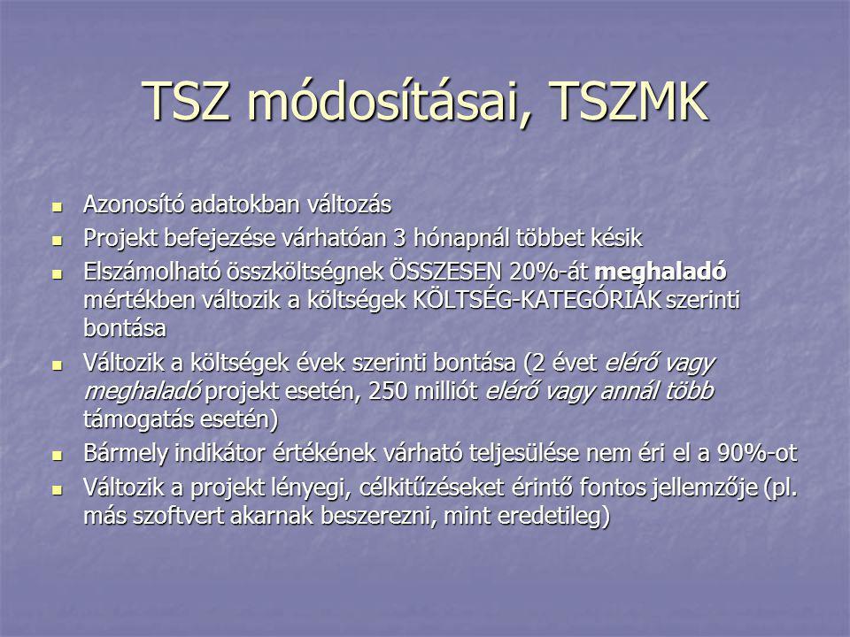 TSZ módosításai, TSZMK  Azonosító adatokban változás  Projekt befejezése várhatóan 3 hónapnál többet késik  Elszámolható összköltségnek ÖSSZESEN 20