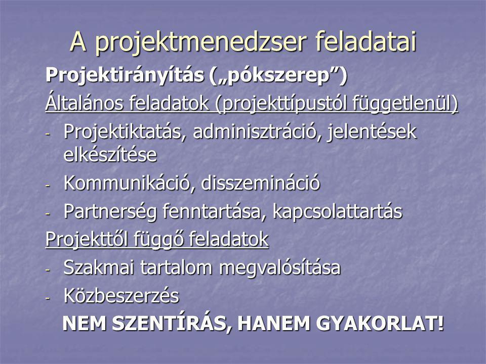"""A projektmenedzser feladatai Projektirányítás (""""pókszerep"""") Általános feladatok (projekttípustól függetlenül) - Projektiktatás, adminisztráció, jelent"""
