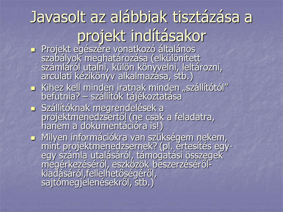 Javasolt az alábbiak tisztázása a projekt indításakor  Projekt egészére vonatkozó általános szabályok meghatározása (elkülönített számláról utalni, k