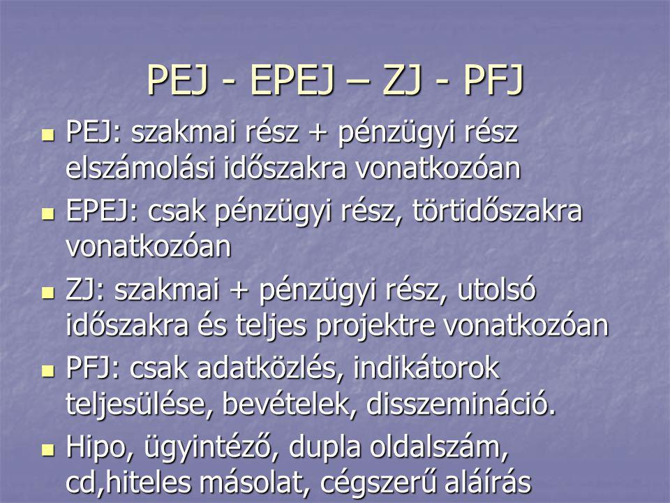PEJ - EPEJ – ZJ - PFJ  PEJ: szakmai rész + pénzügyi rész elszámolási időszakra vonatkozóan  EPEJ: csak pénzügyi rész, törtidőszakra vonatkozóan  ZJ