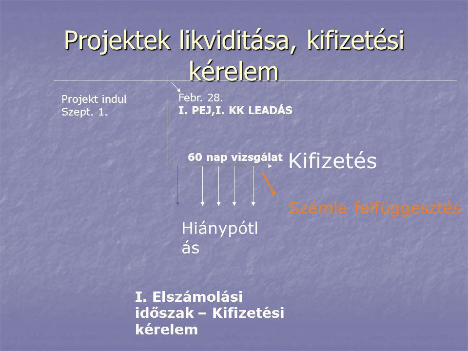 Projektek likviditása, kifizetési kérelem Projekt indul Szept. 1. I. Elszámolási időszak – Kifizetési kérelem Febr. 28. I. PEJ,I. KK LEADÁS 60 nap viz