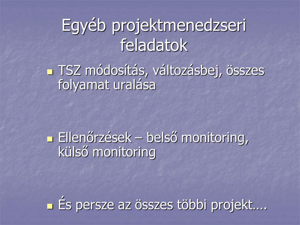 Egyéb projektmenedzseri feladatok  TSZ módosítás, változásbej, összes folyamat uralása  Ellenőrzések – belső monitoring, külső monitoring  És persz
