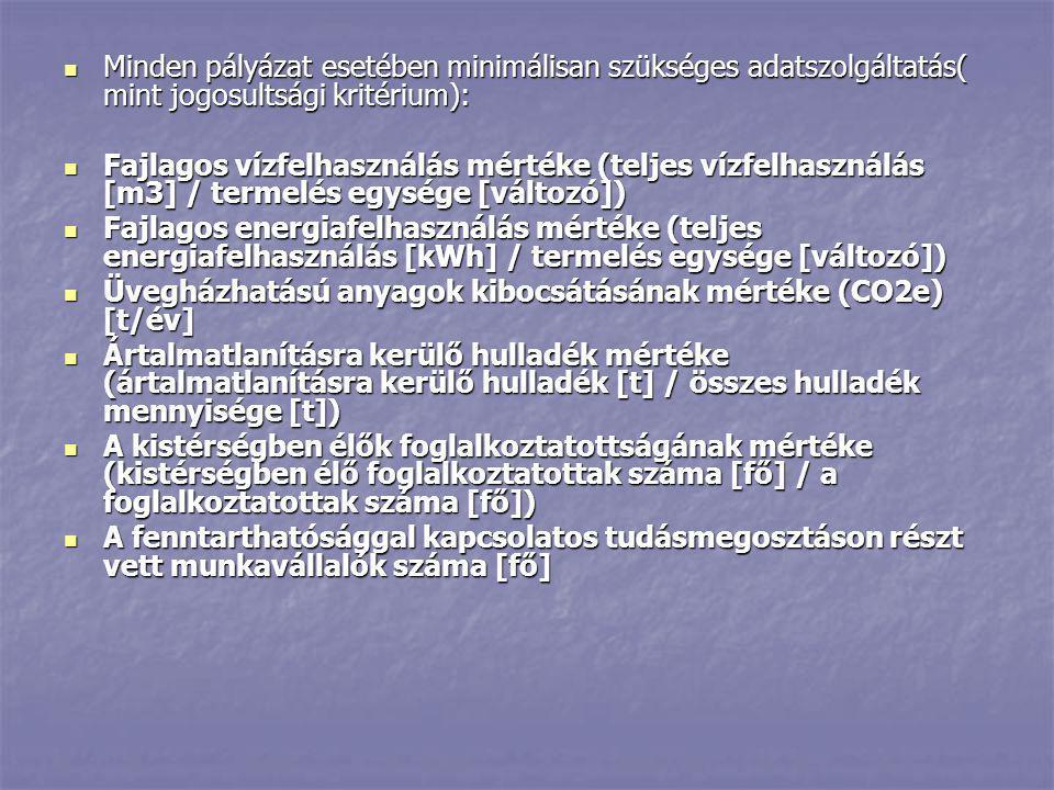  Minden pályázat esetében minimálisan szükséges adatszolgáltatás( mint jogosultsági kritérium):  Fajlagos vízfelhasználás mértéke (teljes vízfelhasz
