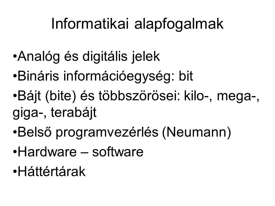 Informatikai alapfogalmak •Analóg és digitális jelek •Bináris információegység: bit •Bájt (bite) és többszörösei: kilo-, mega-, giga-, terabájt •Belső programvezérlés (Neumann) •Hardware – software •Háttértárak