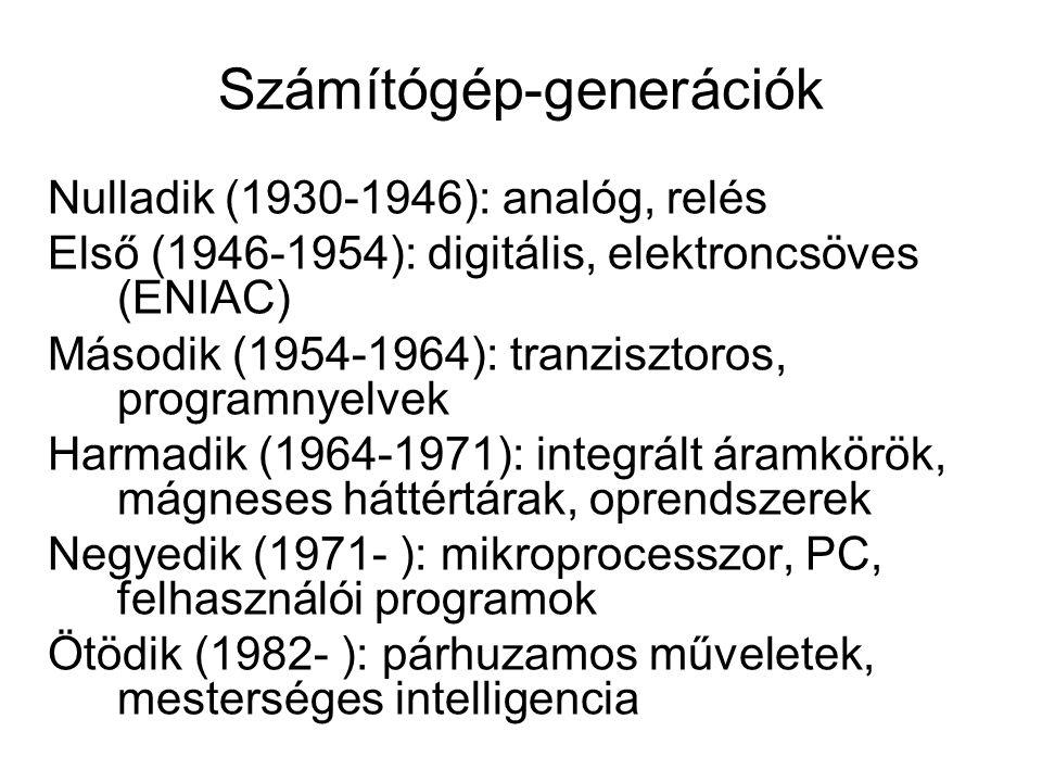 Számítógép-generációk Nulladik (1930-1946): analóg, relés Első (1946-1954): digitális, elektroncsöves (ENIAC) Második (1954-1964): tranzisztoros, programnyelvek Harmadik (1964-1971): integrált áramkörök, mágneses háttértárak, oprendszerek Negyedik (1971- ): mikroprocesszor, PC, felhasználói programok Ötödik (1982- ): párhuzamos műveletek, mesterséges intelligencia