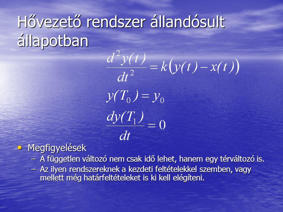Hővezető rendszer állandósult állapotban • Megfigyelések –A független változó nem csak idő lehet, hanem egy térváltozó is.