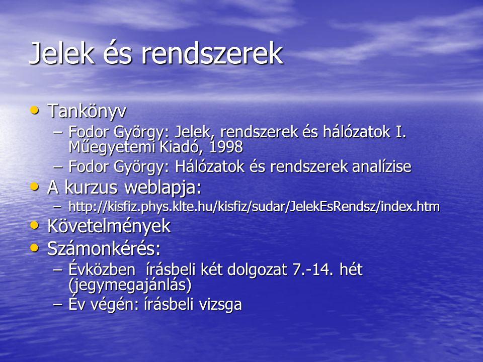 Jelek és rendszerek • Tankönyv –Fodor György: Jelek, rendszerek és hálózatok I.