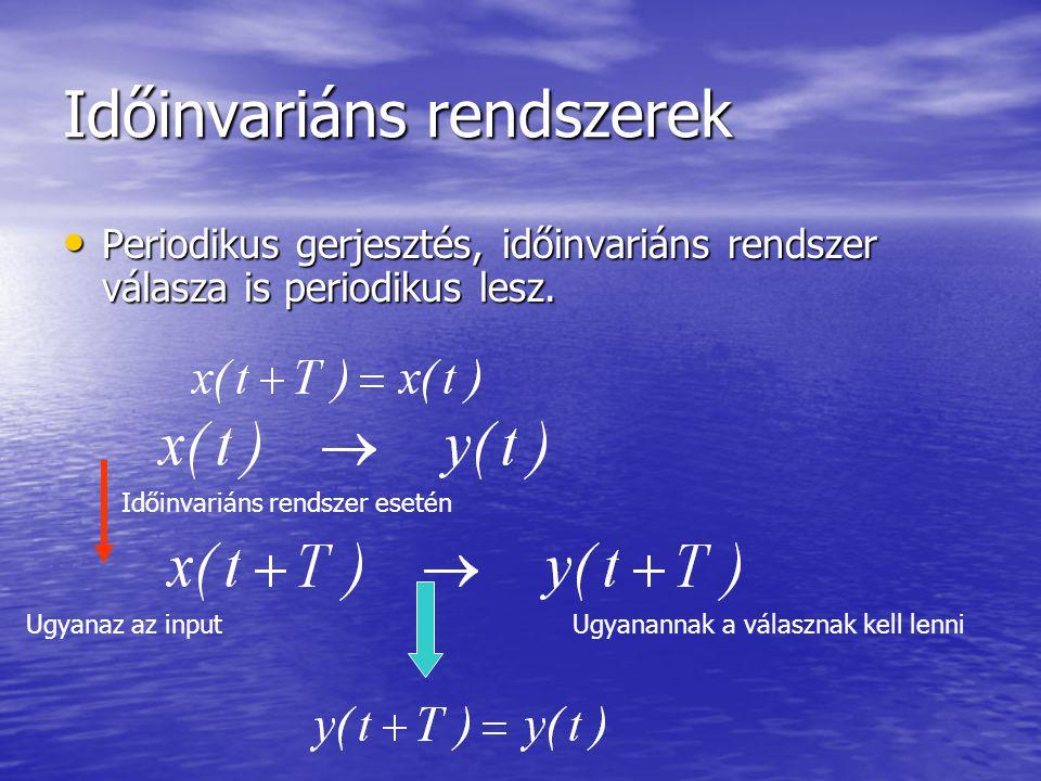 Időinvariáns rendszerek • Periodikus gerjesztés, időinvariáns rendszer válasza is periodikus lesz.