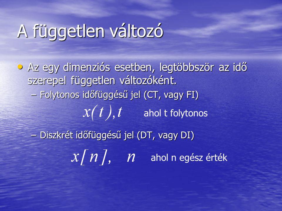 A független változó • Az egy dimenziós esetben, legtöbbször az idő szerepel független változóként.