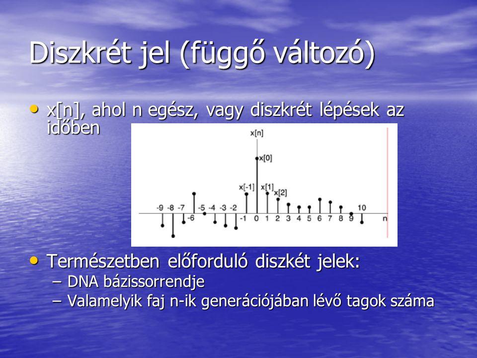 Diszkrét jel (függő változó) • x[n], ahol n egész, vagy diszkrét lépések az időben • Természetben előforduló diszkét jelek: –DNA bázissorrendje –Valamelyik faj n-ik generációjában lévő tagok száma